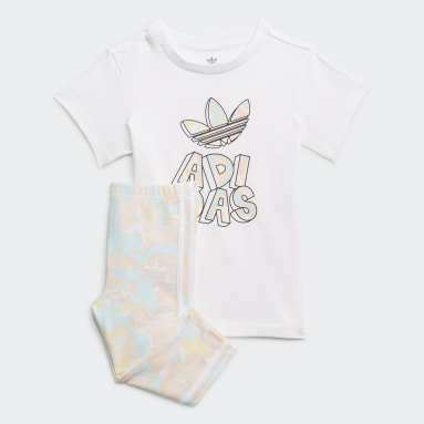 Marble Print Tee Dress and Tights Set Bialy