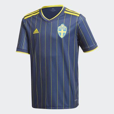 Kinder Fußball Schweden Auswärtstrikot Blau