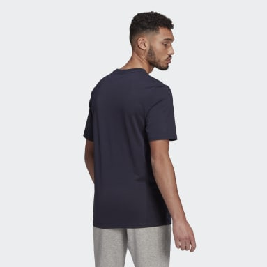 Camiseta Essentials Embroidered Linear Logo Azul Hombre Sportswear