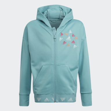 Youth 8-16 Years Gym & Training Green AEROREADY Up2Move Cotton Touch Training Loose Full-Zip Hoodie