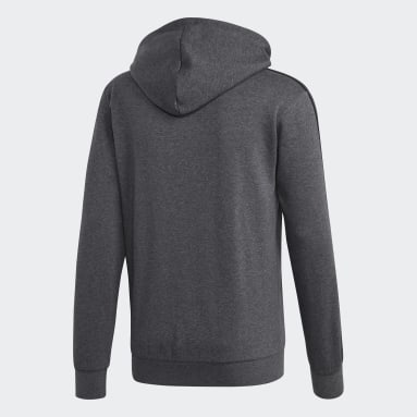 Men Sportswear Grey Essentials 3-Stripes Fleece Hoodie