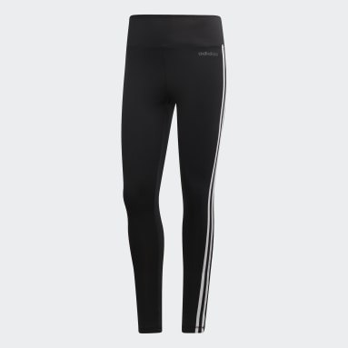 Mallas Largas con  Design 2 Move 3 Franjas - Corte Alto Negro Mujer Training