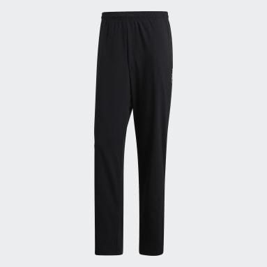 Men Gym & Training Black Essentials Plain Open Hem Stanford Trousers
