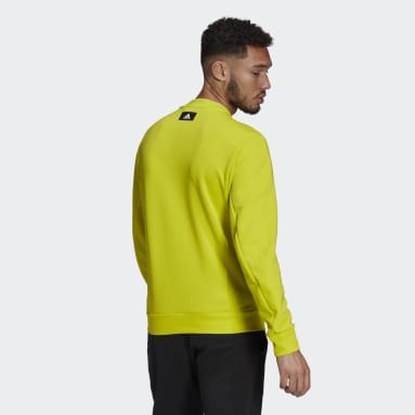 Men Sportswear Yellow adidas Sportswear Fabric Block Sweatshirt