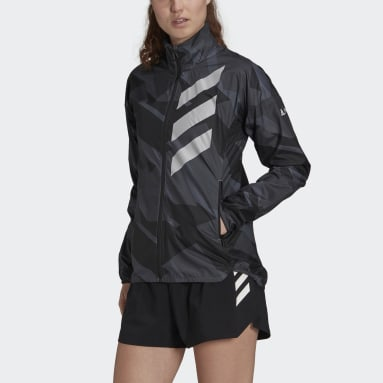 Women TERREX Grey Terrex Parley Agravic Trail Running WIND.RDY Windbreaker