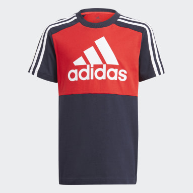 Boys Sport Inspired Red adidas Essentials Colorblock Tee