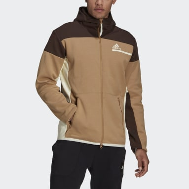 Men Sportswear Brown adidas Z.N.E. Full-Zip Hoodie