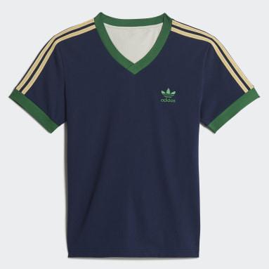 Men Originals Blue Short Sleeve Vintage T-Shirt