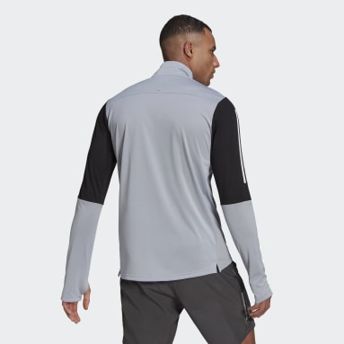 Men Running Grey Own The Run Running 1/2 Zip Sweatshirt
