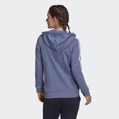 Dames Sportswear Paars Essentials French Terry 3-Stripes Ritshoodie