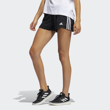 Women Training Black Pacer 3-Stripes Woven Shorts