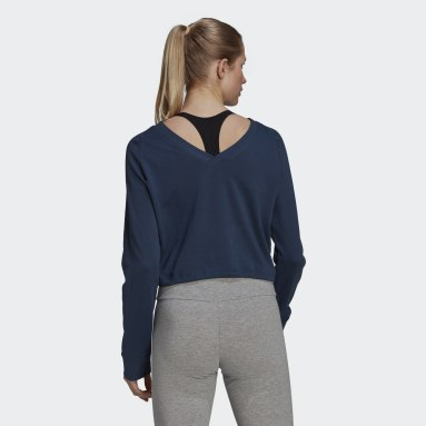 Women Sport Inspired Blue Essentials Cropped Dance Sweatshirt