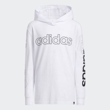 Youth Training White Long Sleeve Hooded Linear Tee