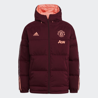 Men Football Red Manchester United Reversible Down Travel Jacket