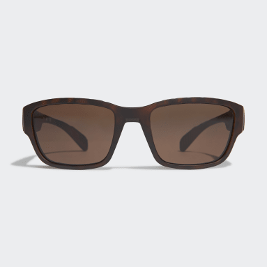 Running Brown SP0007 Shiny Black Injected Sport Sunglasses