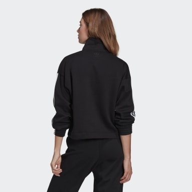 Women Originals Black Adicolor 3D Trefoil Fleece Half-Zip Sweatshirt