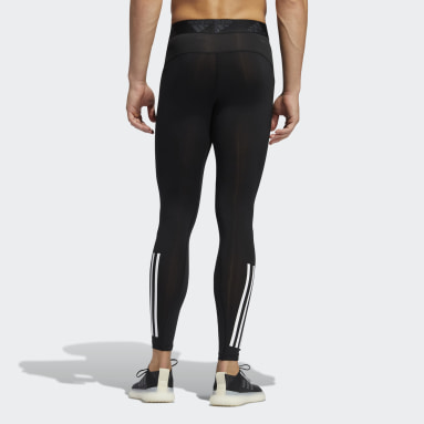 Heren Fitness En Training Zwart Techfit 3-Stripes Lange Legging