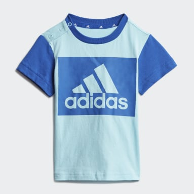 Kids Sportswear Blue Essentials Tee and Shorts Set