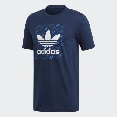 Heren Originals Blauw Monogram Square T-shirt