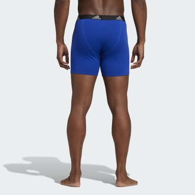 Men's Training Blue Stretch Cotton Boxer Briefs 3 Pairs