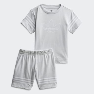 Kids Originals Grey Outline Shorts Tee Set
