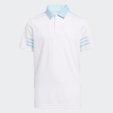Boys Golf White 3-Stripes Colorblock Polo Shirt
