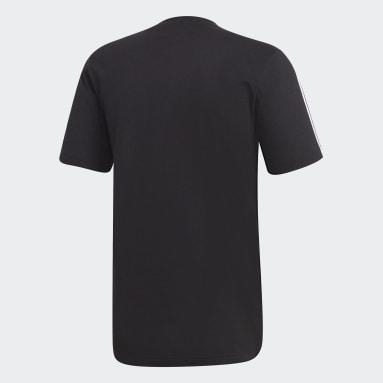 Men Lifestyle Black Essentials 3-Stripes Tee