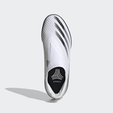 Zapatilla de fútbol X Ghosted.3 Laceless moqueta Blanco Niño Fútbol