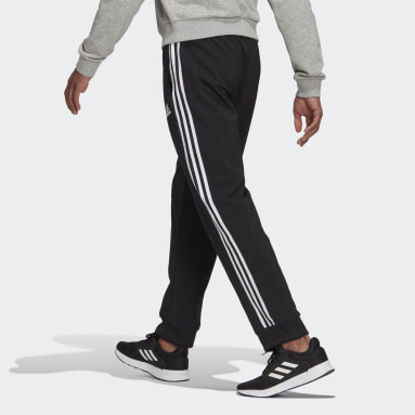 Men Sport Inspired Black AEROREADY Essentials Tapered Cuff Woven 3-Stripes Pants