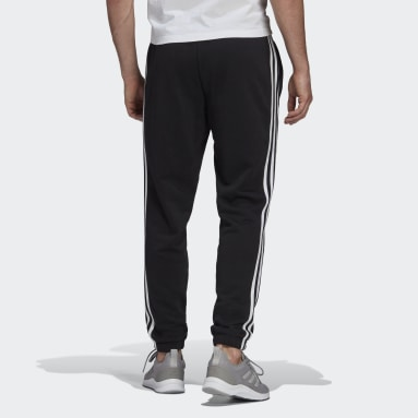 Herr Sportswear Svart Essentials French Terry Tapered 3-Stripes Pants