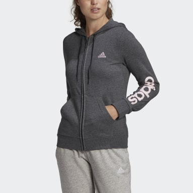 Hoodie Essentials Logo Full-Zip Grigio Donna Sportswear