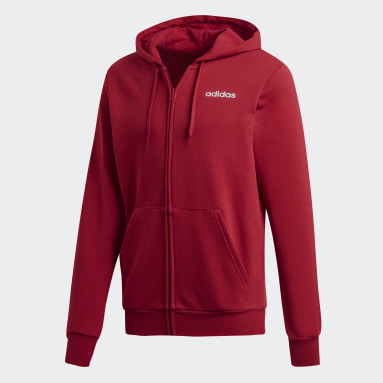 Men Gym & Training Burgundy Essentials Plain Hoodie