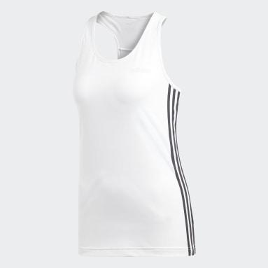 Women Gym & Training White Design 2 Move 3-Stripes Tank Top