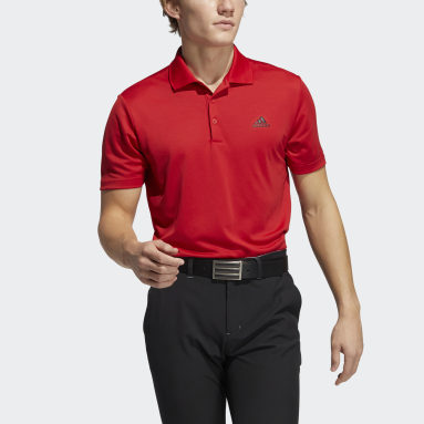 Heren Golf Rood Performance Primegreen Poloshirt
