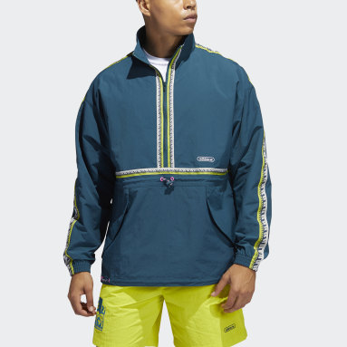Men Originals Turquoise Taped Anorak Jacket