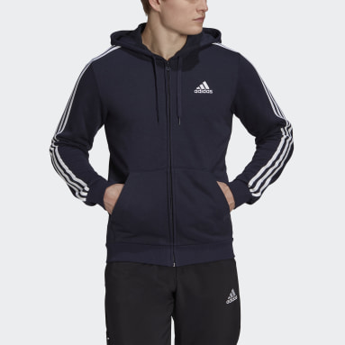 Mænd Sportswear Blå Essentials French Terry 3-Stripes Full-Zip hættetrøje