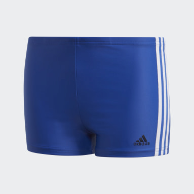Boys Swimming Blue 3-Stripes Swim Boxers