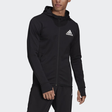 Men Training Black adidas Designed To Move Motion Full-Zip AEROREADY Hoodie