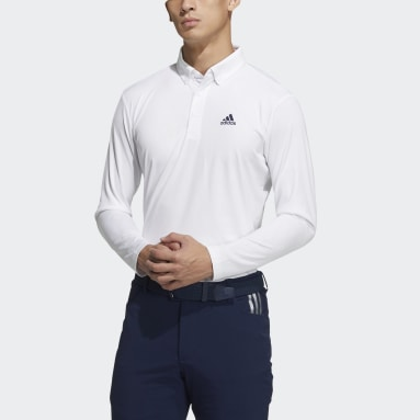 Men Golf White Long Sleeve Polo Shirt