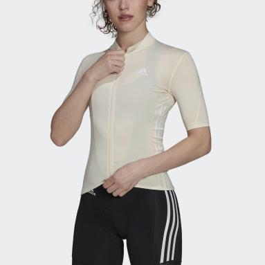 Maillot - Polo de Ciclismo Manga Corta Blanco Mujer Ciclismo