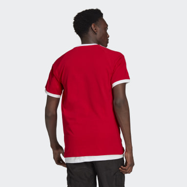 Men Originals Red Adicolor Classics 3-Stripes Tee