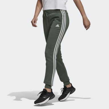 Essentials French Terry 3-Stripes Pants Zielony