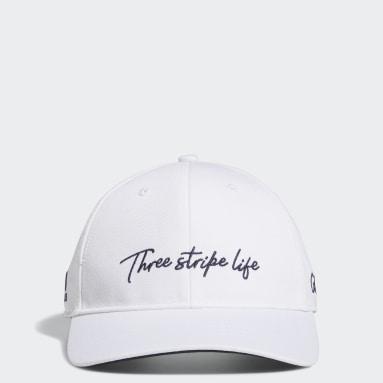 Men Golf White 3-Stripe Life Cap