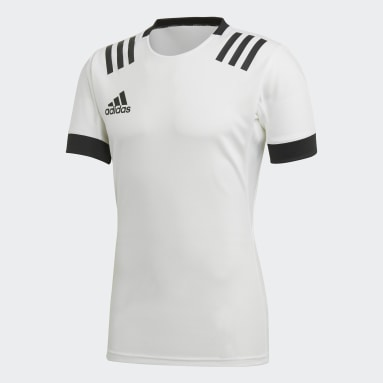 Men Rugby White 3-Stripes Jersey
