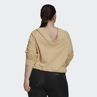 Women's Essentials Beige Essentials Cropped Dance Sweatshirt (Plus Size)