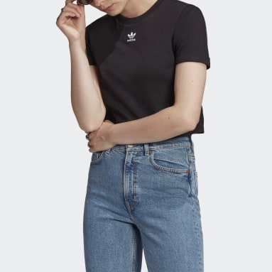 Women Originals Black Adicolor Classics Roll-Up Sleeve Crop Top
