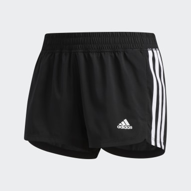 Women's Training Black Pacer 3-Stripes Woven Shorts