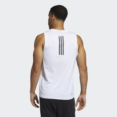 Men's Yoga White AEROREADY 3-Stripes Primeblue Tank Top