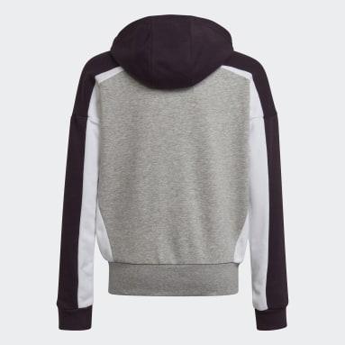 Girls Gym & Training Grey Bold Full-Zip Hoodie