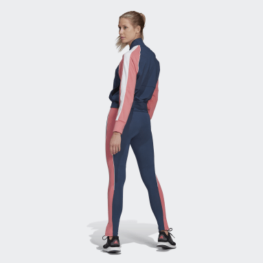 Women Sportswear Blue Bomber Jacket and Tights Tracksuit